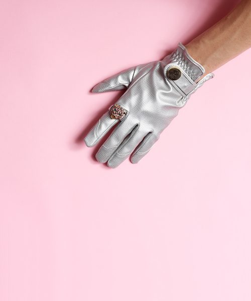 Silver bullet gloves with pink background