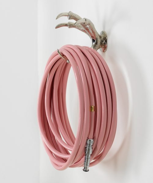 Silver wallmount claw and pink hose