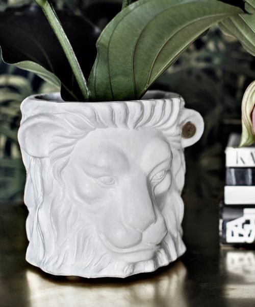 lion pot white small with flower