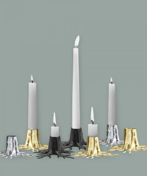 candle holder root black gold silver
