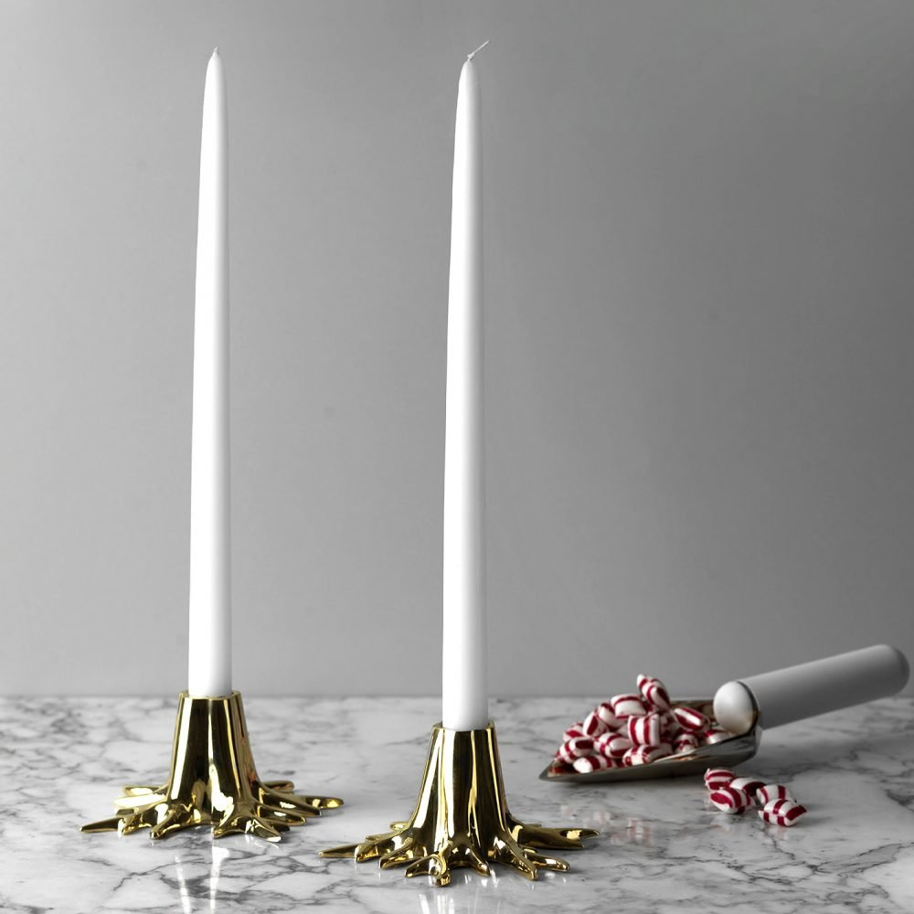 gold candle holder root