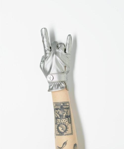 silver gardening glove